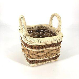 Boho Woven Small Handle Wicker Basket